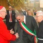 Il card. Poupard con il Sindaco di Anzio e padre Francesco